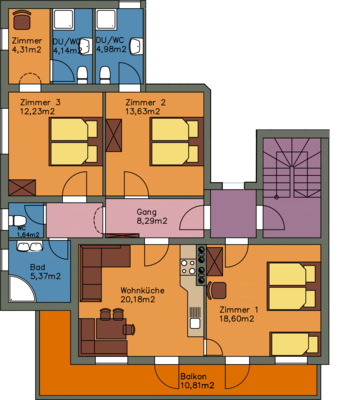 Layoutp plan Apartment Panorama, 93 m² for 2 to 8 people