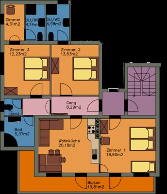 Grundriss Ferienwohnung Panorama, 93 m² für 2-8 Personen